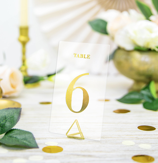 Support Marque Table Mariage Theme Gold Doré