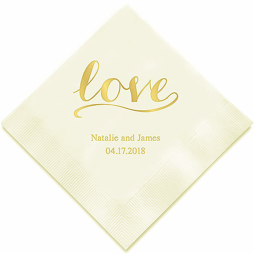 Serviette Table Papier Marquage Prénoms Date Love